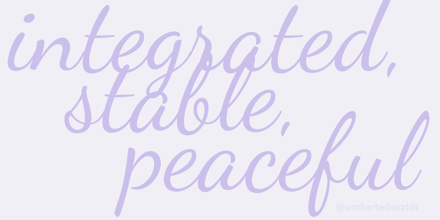 "The words ""integrated, stable, peaceful"" appear in a flowing typeface in mauve against a lighter mauve background."