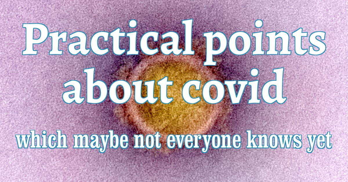 Title text, against a background pic which is a real scan of a covid virus.