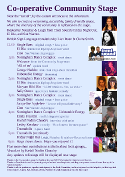 Small version of Community Stage programme page for Notts Pride 2013