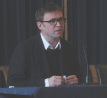 David Nicholls speaking at Nottingham Council House, 27 Nov 2010.