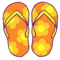 Cartoon of a pair of bright orange flip-flop sandals. The soles are decorated with a pattern of large lighter orange flowers with yellow centres.