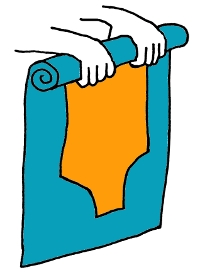 Cartoon. Two hands hold the roll of a partly-rolled-up blue towel. An orange swimming costume is disappearing into the roll as it rolls up: trolls up: the lower part is shown, the top part is hidden in the roll.herolls up: the lower part is shown, the top part is hidden in the roll. lower part is shown, the top part is hidden in the roll.