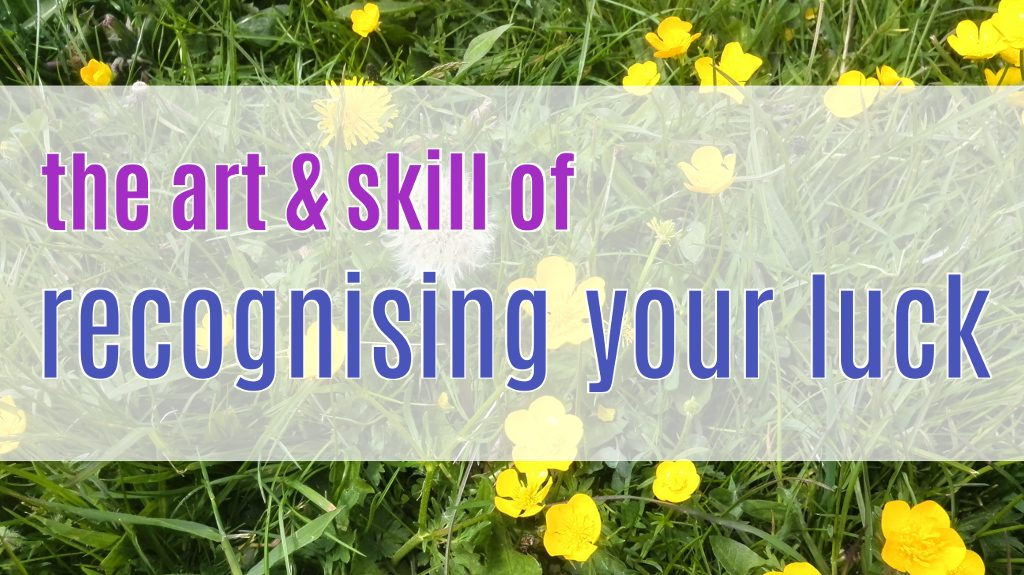 """""""the art & skill of recognising your luck"""", on a background of grass and buttercups"""