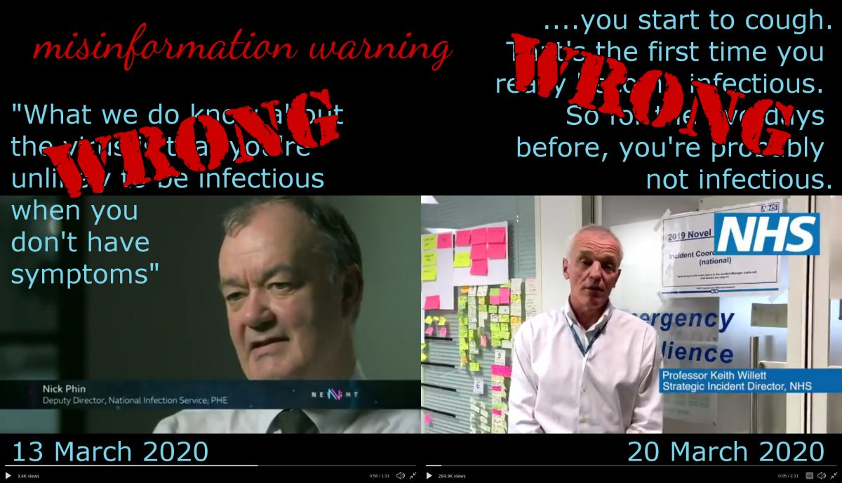 "Screenshots and text quotes from two videos, tagged ""WRONG"". The header is ""misinformation warning""."