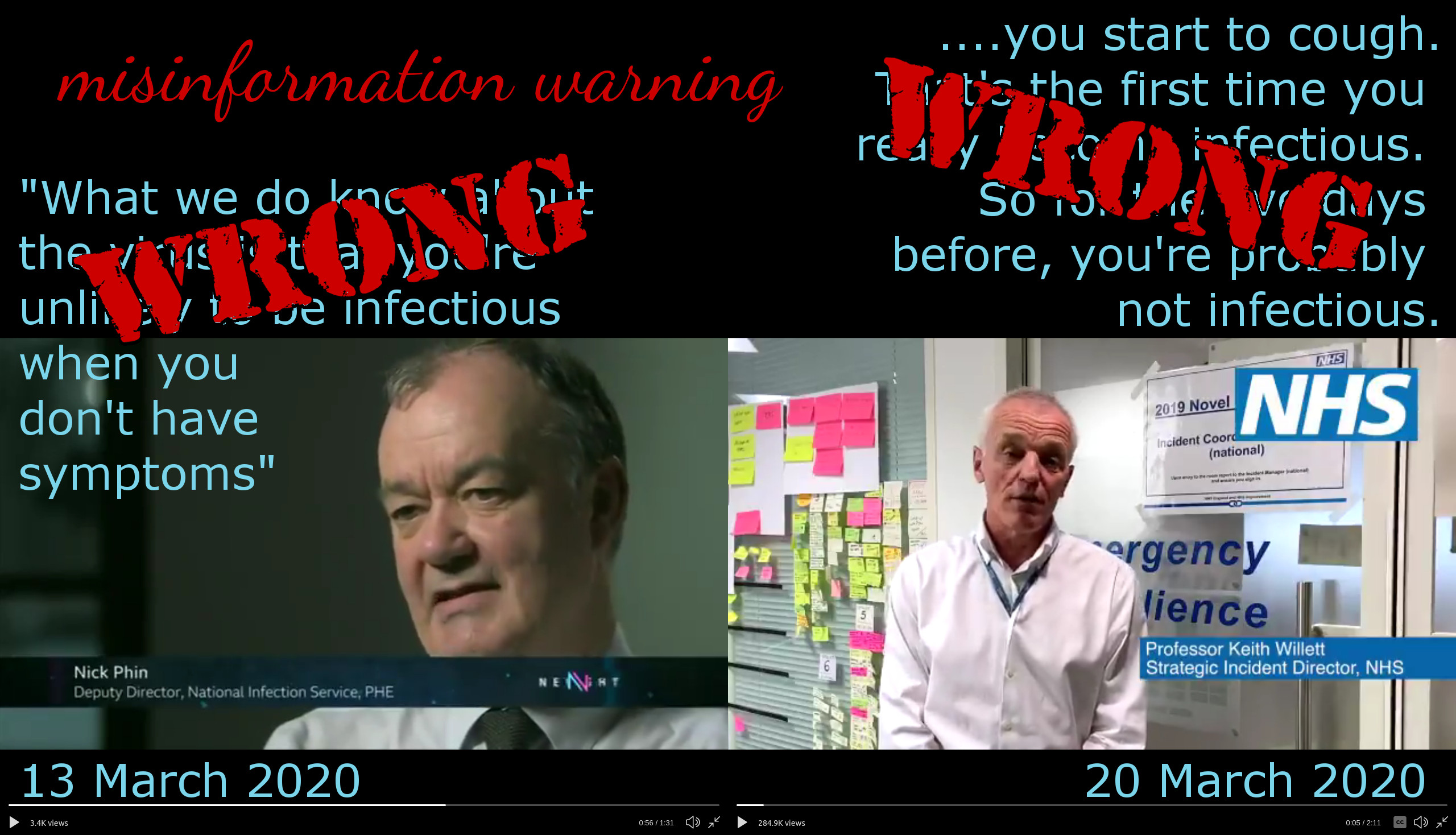 """Screenshots and text quotes from two videos, tagged """"WRONG"""". The header is """"misinformation warning""""."""