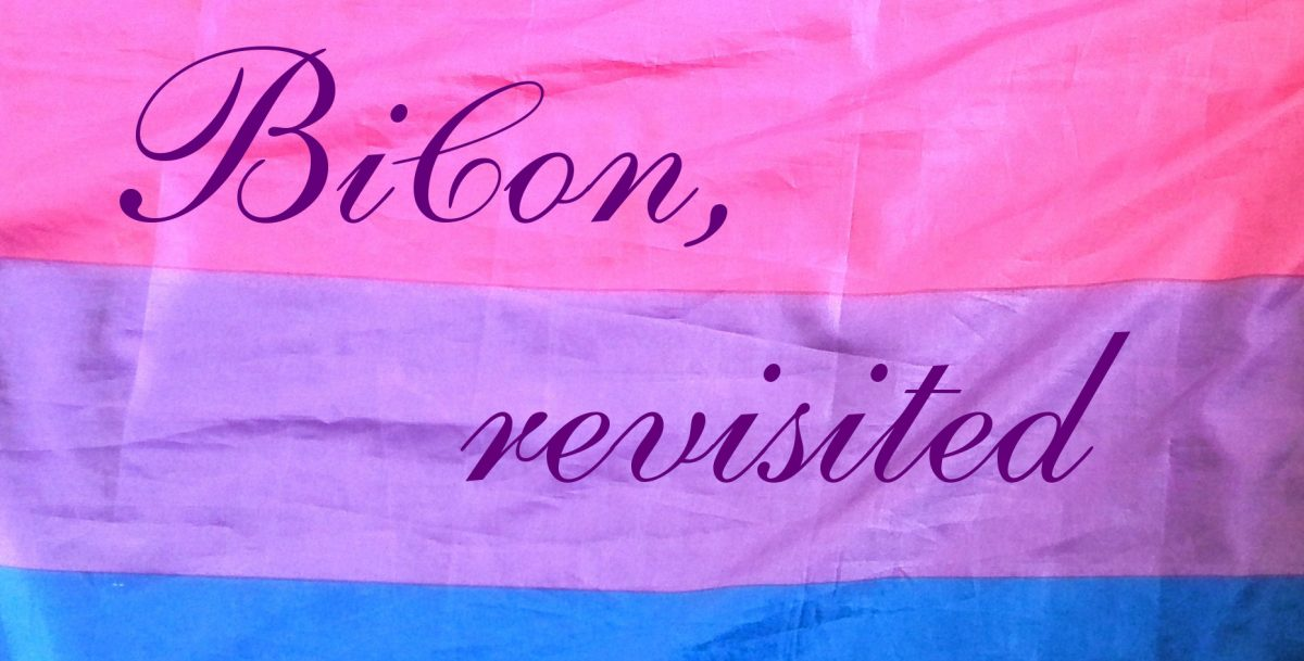 BiCon, revisited (squirly lettering on photo of bi flag)