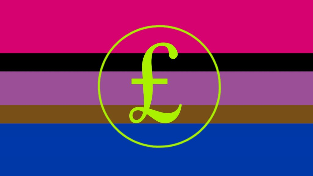 Bi flag including black & brown stripes. On top of it is a pound sign in green.