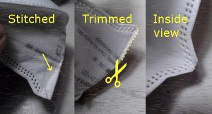 Three photos in a sequence. First photo shows the chin of an FFP mask, with a line of stitching to take a tuck in the edge. Second photo shows how the mask is trimmed back next to the line of stitching. Third photo shows the seam from the inside, as you'd see if it you were about to put on the mask.